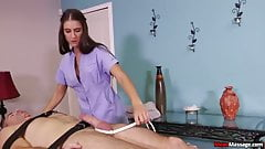 Super hot brunette dominant handjob
