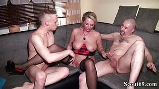 Daddy and Step Step Son Fuck German MILF in hard Threesome