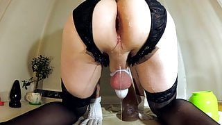 Crossdresser Rides and Pulls Out Giant Plug