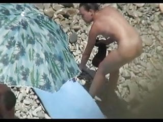 Hot nude beach pic - Nude beach - hot mmf threesome on the shore