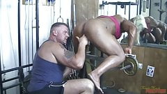 big ass British muscle woman sucks cock, gets fingered first anal