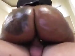 White cock and black ass - Huge black ass riding white cock
