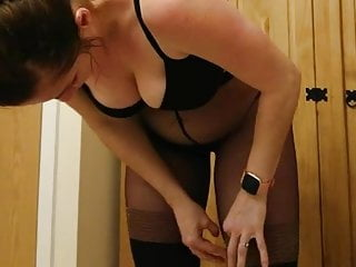 Pantyhose wife shared Dumb pantyhose bitch dressing 02