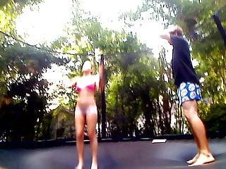 Trampoline fuck on video Teens fuck on a trampoline