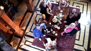 A dinner at a mansion turns into a hardcore fuck orgy