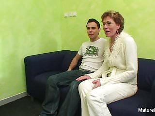 Watching granny fuck vid - Granny watches porn before getting fucked by a younger guy