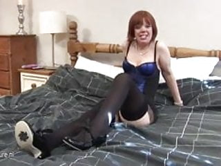 Natural mature All natural mature mom playing on her bed