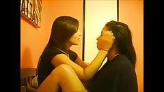 Lesbian girlfriend kissing