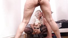 She demonstrates her capability to a lesbian couple