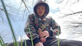 Sweet Boy Jerking his Big Dick (23cm) Outdoor