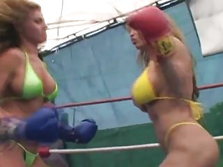 Topless blonde bikini Three in topless ring fight