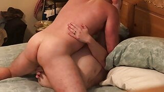 Pressing into my boss' wife for the first time. Yeah, she's hot