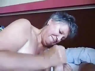 Granny jerk cocks - Granny jerking and cum on tits