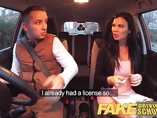 Examing boobs Fake driving school exam failure ends in threesome creampies