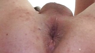 pussy play with long thick dildo