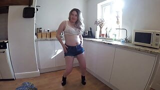 mom strips in Denim shorts and underwear