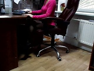 Vintage cosco high chair Secretary karina at the office in the bosss leather chair