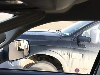 Girl pees and gets kicked Car flash driving- blonde lady gets a kick out of it