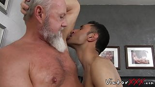 Old stud Randy cums hard after barebacking twink cheeks