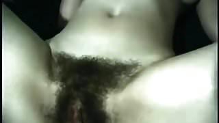 Touching and feeling big hairy bush