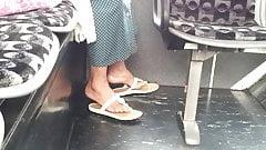 Candid mature feet in flip flops pt 2