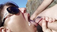 mature cum in beach