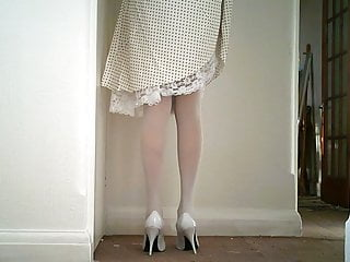 Vintage slip and panty pictures White lace slip and panties with white stockings