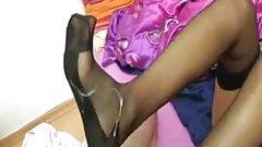 Homemade nylon stockings footjob with cum on feet!