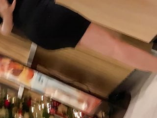 Milf video almost 40 - Prego tight black dress legs feet almost seethru sit upskirt