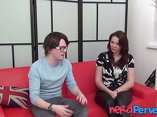 English pleasure video English redhead in hot pants pleasures nerd with fellatio