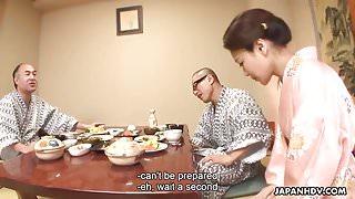 Fucking the Asian waitress in a hot tub