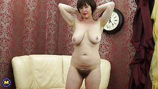 Posh STEP MOM with big saggy tits and hairy pussy