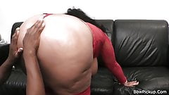 Huge lady in lingerie takes black cock from behind