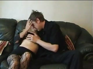 Knitting with old pantyhose Blonde milf fucks younger guy.