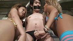 Bikini mistress to provoke the man who put a chastity belt