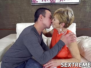 Suck it good Blonde granny sucks on a younger cock and fucks it good