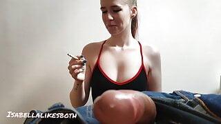Smoking fetish hand job