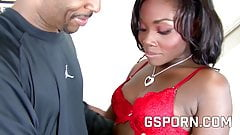 Hot hairy pussy ebony fucking with creampie and cum in mouth