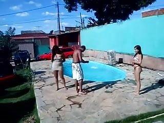 Bikini thong sling Very hot teen with bikini thong in pool