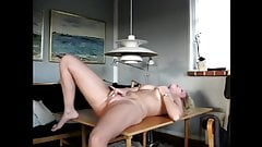 Blonde Amateur Girl Masturbating On Table