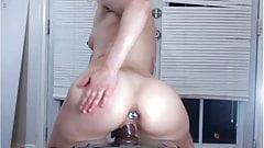 Sexy big booty anal plug riding her dildo