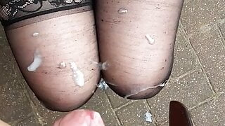 Cum on stockings outdoor