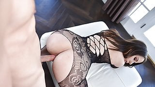 Thick Brunette Gets Rough Pounding While Wearing Pantyhose