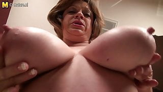 Mature American STEP MOM with saggy big tits