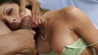 Beautiful brunette MILF in lingerie sucking dick