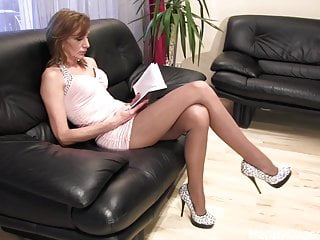 Femdom german mature Anique high heels dangling