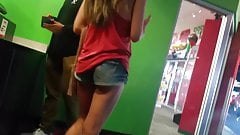 Candid asian cheeks in shorts