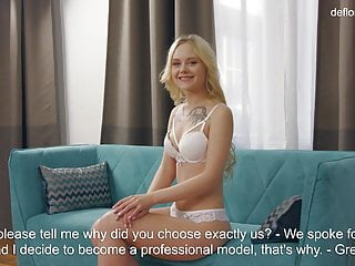 Looses her virginity - A little innocent virgin blonde, confirms her virginity.