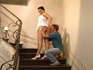 Fucing milf Vintage brunette fuced on stairs.