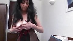 Raunchy granny in sexy lingerie